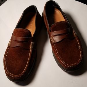 Acorn Suede and Leather Loafers